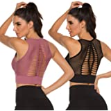High Impact Seamless Sports Bra,Cut Out Back Removable Padded Yoga Workout Fitness Activewear Venting Crop Top 2 Pieces
