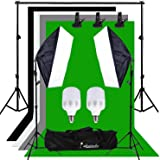 Abeststudio 500W Continuous Lighting 50 x 70cm Softbox kit and Black chromakey Green White Gray Backdrops Soft box Equipment