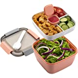 Freshmage Salad Lunch Container To Go, 42-oz Salad Bowls with 3 Compartments, Salad Dressings Container for Salad Toppings, S
