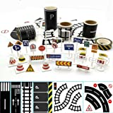 3 Rolls 4.8cm x 50cm Play Road Tape for Toy Cars & Trains Straight Curve Track Traffic Signs -Birthday Gifts