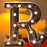 Industrial LED Marquee Letter Lights 26 Alphabet Light Up Name Sign Vintage Style Letter Lamp for Birthday Party Christmas Pe