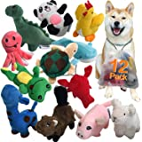LEGEND SANDY Squeaky Plush Dog Toy Pack for Puppy, Small Stuffed Puppy Chew Toys 12 Dog Toys Bulk with Squeakers, Cute Soft P