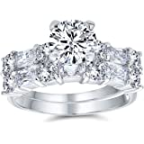 Deco Style 2CT Round Solitaire AAA CZ Anniversary Wedding Baguette Band Engagement Ring Set For Women Sterling Silver