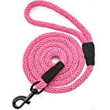 Mycicy Dog Leash,6FT Cotton Rope Dog Leash Heavy Duty Strong Durable Rope Dog Leash for Medium and Large Dogs,Pink 1/2 inch