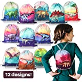 12 Pack Dinosaur Party Supplies Favor Drawstring Bags for Kids' Birthday, Boys and Girls Dino Backpack Bag as Loot and Goodie