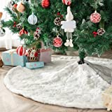 Atiming White Plush Christmas Tree Skirts Luxury Snowy Faux Fur Xmas Tree Base Cover Mat for Xmas New Year Home Party Decorat