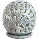 Nirvana Class Hand Carved Tealight Holder Sphere Shaped Made from Soapstone with Intricate Tendril Openwork Floral Decorative