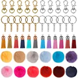 48PCS Faux Fur Ball Pom Poms Keychains,Key Chain Rings Bulk with Tassel for Girls Women Hats Shoes Bags Accessories