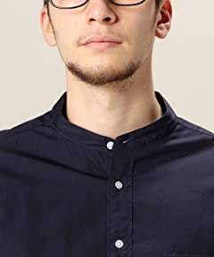 Beauty & Youth Broadcloth Band Collar Shirt 1211-178-6630: Navy