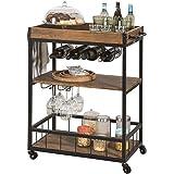 SoBuy FKW56-N, Industrial Vintage Style Wood Metal 3 Tiers Kitchen Serving Trolley with Wine Rack