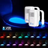 Rechargeable 16-Color Toilet Night Light with IP67 Waterproof Design, Motion Sensor LED Toilet Bowl Light, 5 Stage Dimmer, Mo