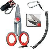 BXIO Fishing Scissors with Fishing Lanyard and Nylon Sheath, Braided Line Tools, Heavy Duty Anti-Slip Fiber Cable Cutter, Sta