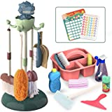REMOKING Kids Toys Pretend Play,17Pcs Household Cleaning Tools,Toddler Housekeeping Accessories with Broom,Mop,Brush, Duster,