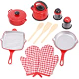 Liberty Imports Kitchen Cookware Pots and Pans Plastic Pretend Playset for Kids - Grill Pan, Kettle, Cooking Utensils Set, Sa