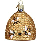 Old World Christmas Ornaments: Bee Skep Glass Blown Ornaments for Christmas Tree (12391)