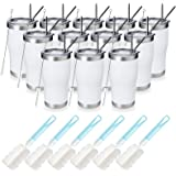 MANYHY 20oz Stainless Steeel Insulated Tumbler, 12 Pack Bulk Travel Mug with Lid, Straw and Brush, Double Wall Vacuum Powder