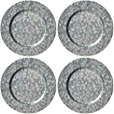 Silver Galvanized Steel Charger Plate, 13-inch Classic Charger Plates Dinnerware Dishes, Set of 4