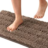 Striped Shaggy Long Rugs for Bathroom Cozy Shag Collection Taupe Solid No Slip Shower Plush Carpet Mat Living & Bedroom Soft