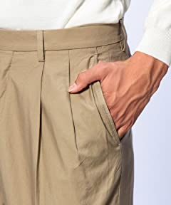 Washed Cotton Pleated Pant 1114-177-5635: Beige