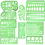 11 Pcs Geometric Drawings Templates Measuring Rulers Plastic Measuring Templates Plastic Geometry Stencils with 1 Pack Poly Z