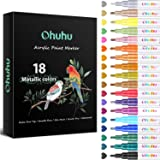 Metallic Acrylic Markers Pen, Ohuhu 18-color Paint Pens for Rock Painting Art, DIY Ceramic, Water-Based Metallic Glitter Acry
