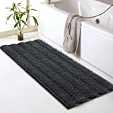 "Sheepping Striped Chenille Bathroom Rugs Runner (47"" x 17"") - Soft Non-Slip Long Bath Mat, Absorbent and Machine Washable, Sh"