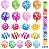 ATPWONZ Candy Balloons, Set of 21 Mylar Balloons Lollipop Swirls Peppermint Balloons with 6 Colored Ribbon for a Candy Bar or