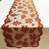 Thanksgiving Table Runner, 13 x 72 Inch Fall Table Runner Thanksgiving Decorations, Maple Leaves Harvest Lace Pumpkin Runner