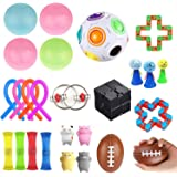 Sensory Fidget Toys Set 26 Pack - Stress Relief for Kids Student Adults, Stress Balls/Soy Squeeze/Flippy Chain/Bungee Cords f