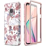 SURITCH Case for Galaxy S9, [Built-in Screen Protector] Rose Gold Marble Full-Body Protection Shockproof Rugged Bumper Protec