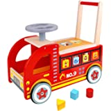 Pidoko Kids Ride On Fire Truck - Wooden Push and Pull Walker Cart - Balance Wagon Toy for Toddlers Boys & Girls age 18 Months