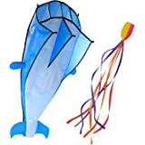 Image 3D Kite Large Blue Dolphin Breeze Beach Kites with Huge Frameless Soft Parafoil Giant, Kids,Family