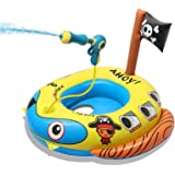 TROJOY 3-in-1 Pool Floats for KidsToddler, Pool Toys with Water Gun, Pirate Ship Toys for Boys Girls 3 4 5 6 7, Kids Inflata