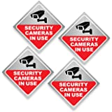 Security Camera Sticker - Video Surveillance Sign - Pack of 4, Window Cling 8 mil Thick, for Inside of Window, Facing Outside