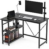 SumthortsL字型 デスク 幅110cm 奥行き80 cm/50 cm 机 desk pcデスク パソコンデスク ゲーミングデスク 勉強机 オフィスデスク コーナーデスク 収納ラック付き 左右入れ替え対応 棚板高さ調節可能 メラミン加工 (黒