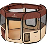 Zampa Portable Foldable Pet playpen Exercise Pen Kennel + Carrying Case for Larges Dogs Small Puppies/Cats | Indoor/Outdoor U