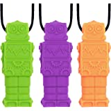 Panny & Mody Robot Sensory Chew Necklaces(3 Pack), Silicone Pendant Chewable Jewelry, Reduce Chewing Biting Fidgeting for Aut