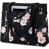 Laptop Tote Bag Womens Work Bags Purse Floral Teacher Handbag Shoulder Bag fit 15.6 in Laptop (Black - Peony Floral)