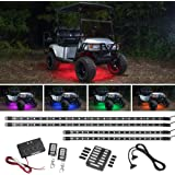 LEDGlow 4pc Million Color SMD LED Golf Cart Underbody Underglow Light Kit - Water Resistant Flexible Tubes - Includes 2 Wirel