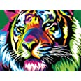 Paint by Numbers-DIY Digital Canvas Oil Painting Adults Kids Paint by Number Kits Home Decorations- Colorful Tiger 16 * 20 in