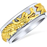 Personalize Two Tone Overlay Gold Silver Tones Titanium Steel Exotic 3D Asian Chinese Dragon Fidget Spinner Ring Band Jewelry