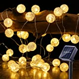 BrizLabs Globe Solar String Lights, 22.73ft 50 LED Crackle Ball Solar Lights Outdoor, 8 Modes Waterproof Fairy Lights with Me