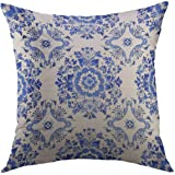 Mugod Decorative Throw Pillow Cover for Couch Sofa,White Delft Blue Style Watercolour Traditional Dutch Floral Tiled Flowers