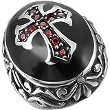 INBLUE Men's Stainless Steel Ring CZ Silver Tone Black Red Cross Knight Fleur De Lis Oval