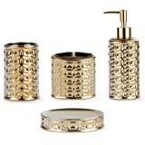 BASDHE Gold Bathroom Accessory Set, 4-Piece Bathroom Decorations Accessories Sets Includes Lotion Dispenser, Toothbrush Holde