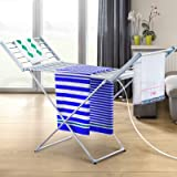 Devanti Heated Towel Rail Rack Hanger Stand 18 Rungs Folding Bathroom Electric Clothes Warmer Airer Aluminum Bar Free-Standin