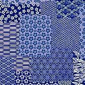 タカ印 和風柄包装紙 千代紙合わせ紺 35-1426 半才判 上質紙 50枚入