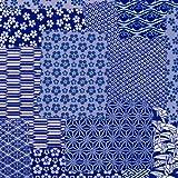 タカ印 ラッピングペーパー 49-1716 和風柄 千代紙合わせ紺 半才判 50枚