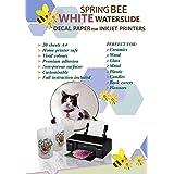 A4 Waterslide Decal Paper WHITE for INKJET PRINTERS - 20 Sheets Premium Water-Slide Transfer WHITE Printable Water Slide Deca