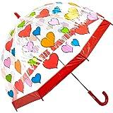 Clifton Umbrellas Kids' Birdcage Hearts Umbrella, PVC, Kid Friendly, Red